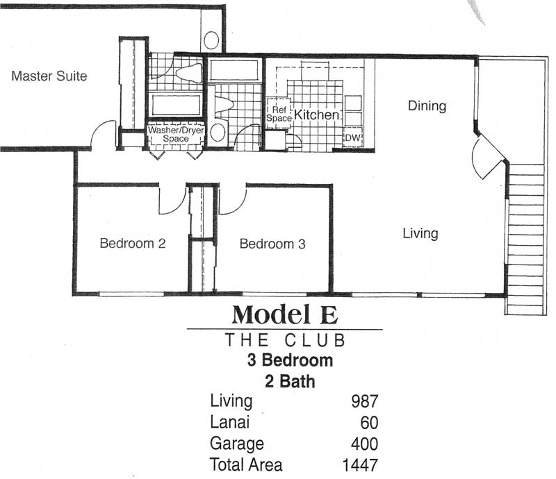 Model E - The Club 3 bedroom / 2 bathroom Living - 987 sq. ft. Lanai - 60 sq. ft. Garage - 400 sq. ft. Total Area 1,447 sq. ft.