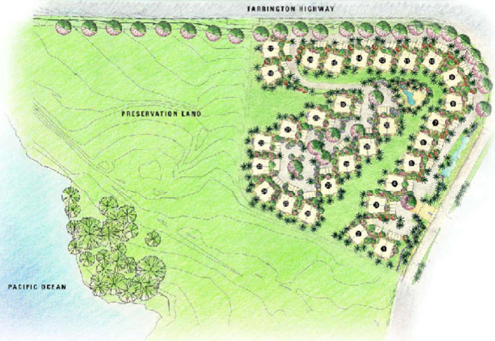 Site plan of the Kai Lani at Ko Olina. Farrington Highway to the north and Ali'inui Drive and Ko Olina guard shack and entrance to the East. Also, this is where the gated entrance to the Kai Lani is located.