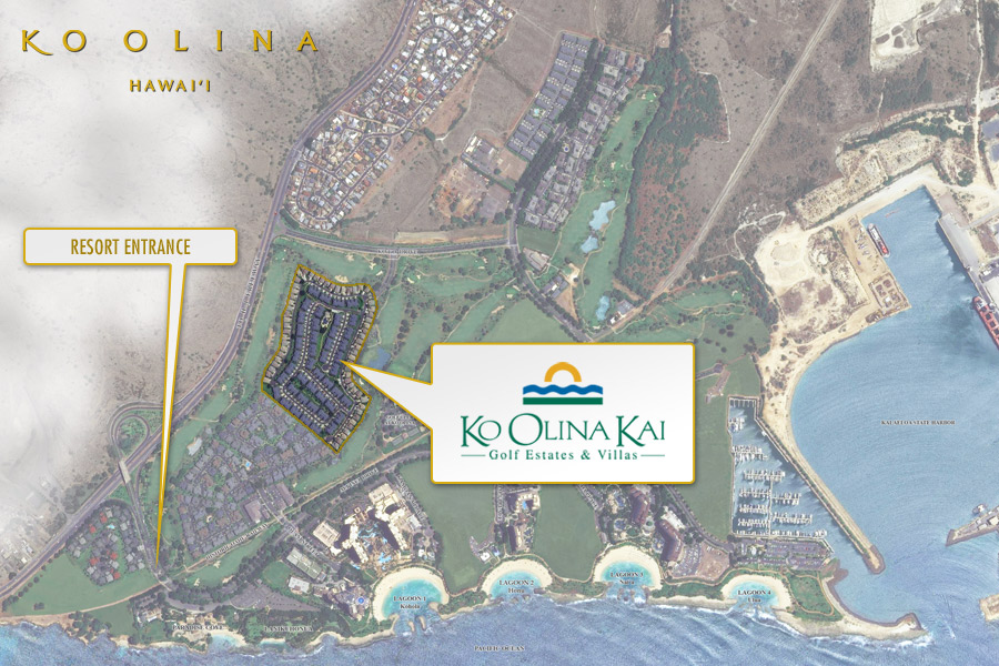 Satellite view of Ko Olina Kai in relation to the rest of Ko Olina.