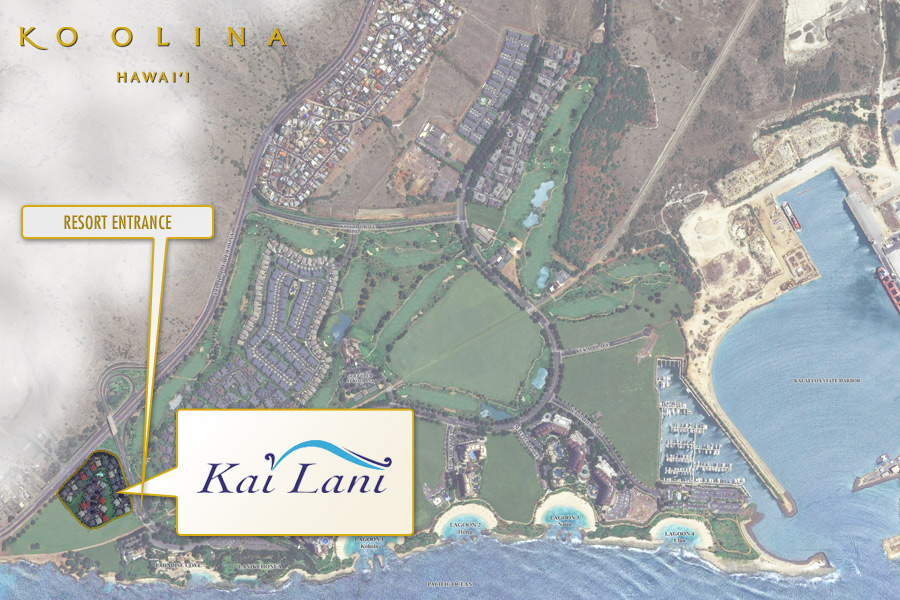 Satellite view of the Kai Lani in relation to the rest of Ko Olina.