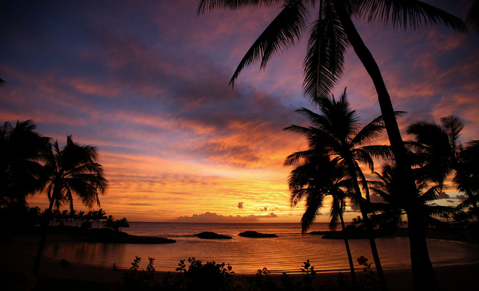 A Ko Olina lagoon at sundown. There is public access to these lagoons. Parking closes once the sun is down.